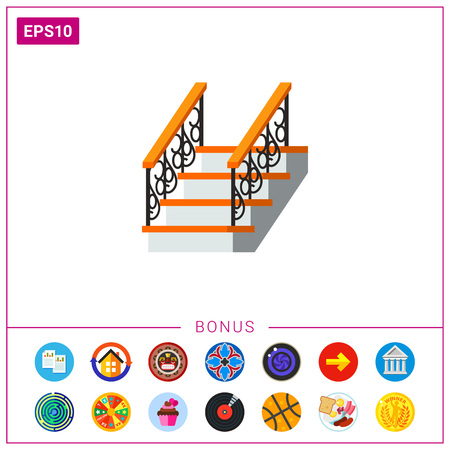 ladder  fence: Vector icon of ladder with forged fence banister. House, staircase, exit. Iron works concept. Can be used for topics like forging, architecture, metalwork