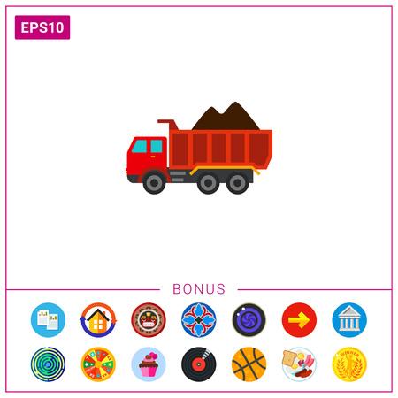 Loaded dump truck icon