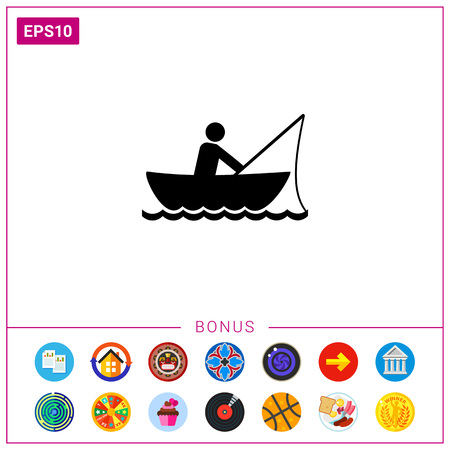 rowboat: Man fishing in boat. Summer, fish, river. Fishing concept. Can be used for topics like sport, leisure, fishery.
