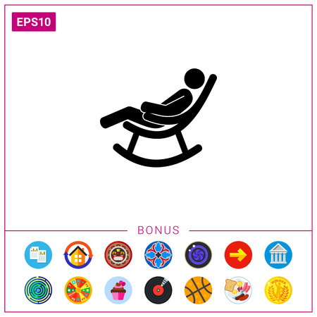 Man sitting in rocking chair. Comfort, rest, vintage. Rocking chair concept. Can be used for topics like furniture, interior, marketing.