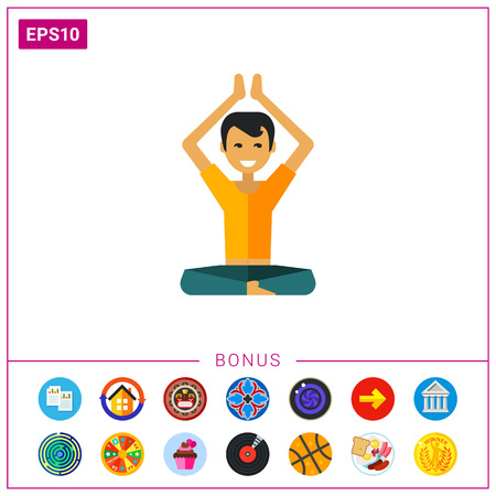 Multicolored vector icon of sitting man raising hands up Illustration