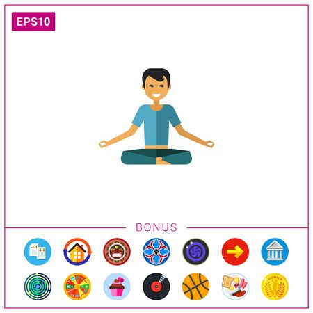Multicolored vector icon of sitting man doing yoga