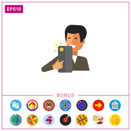 making a face: Multicolored vector icon of man holding smartphone and making selfie