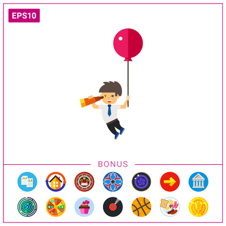 Man with Balloon and Spyglass Icon