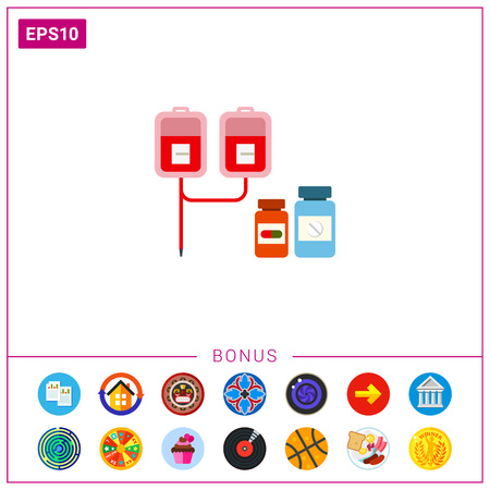 Medical drip and pill bottles Illustration