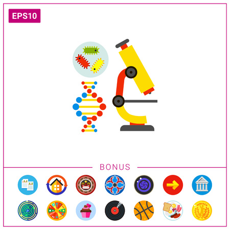 Microscope as Biology Concept Icon Illustration