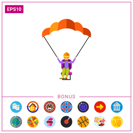 Male character with paraglider. Flying, paragliding, extreme sport, leisure activity. Searching concept. Can be used for topics like entertainment, extreme sport, paragliding