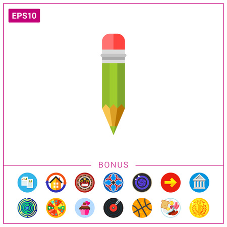 Pencil with Red Eraser Icon Illustration