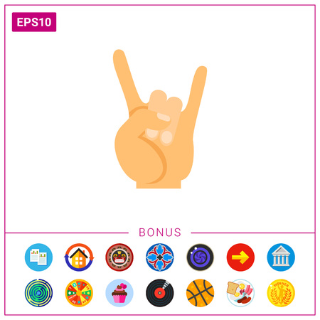 Rock and roll gesture vector icon Illustration