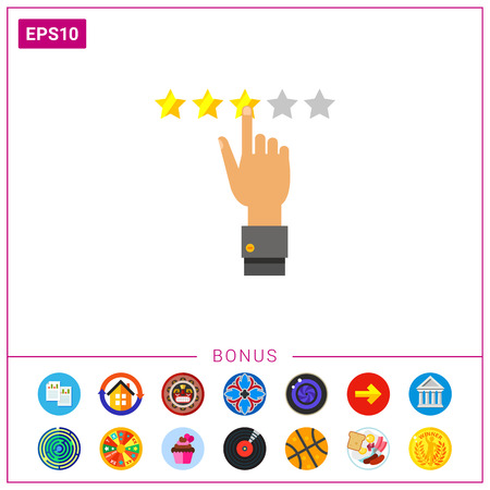 Illustration of human hand selecting three stars. Rating, network, evaluation, feedback. Rating concept.