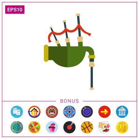 bagpipe: Multicolored vector icon of traditional Scottish bagpipe