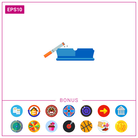 smell of burning: Smoking cigarette on ashtray. Tobacco, addiction, ash. Smoking concept. Can be used for topics like smoking, health, business.