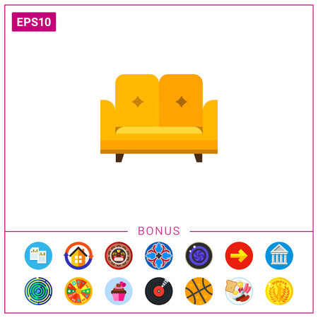 Multicolored vector icon of yellow sofa with backrest