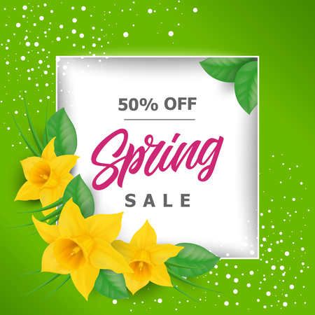 Spring Sale Lettering With Narcissuses