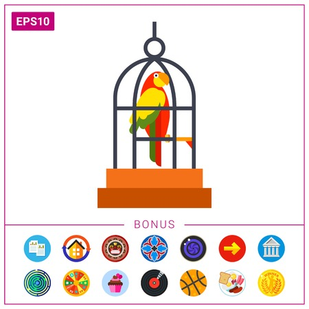 macaw: Parrot in cage icon