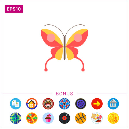 Red butterfly icon Illustration