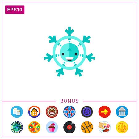 Multicolored vector icon of cartoon snowflake with happy face