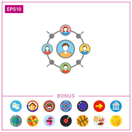 Icon of set of male and female character portraits in circle and one in center, depicting interaction in social network Stock Photo