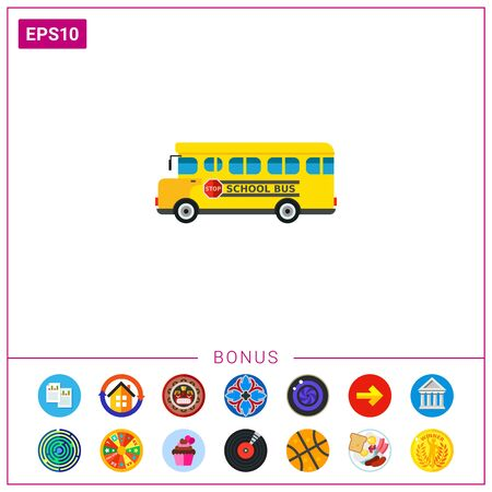 Multicolored vector icon of yellow school bus with stop sign on board