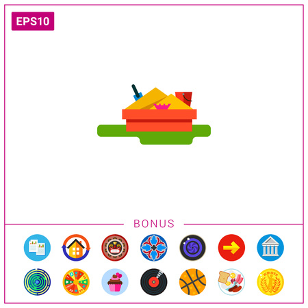Illustration of sandbox with scoop, bucket and mold. Summer, leisure activity, toy. Sandbox concept. Can be used for topics like childhood, playground, leisure activity