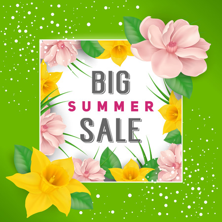 Big Summer Sale Lettering, Frame, Flowers