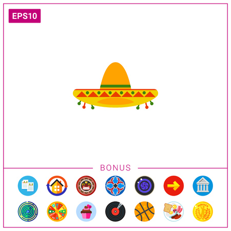 traje mexicano: Icono de sombrero colorido Vectores