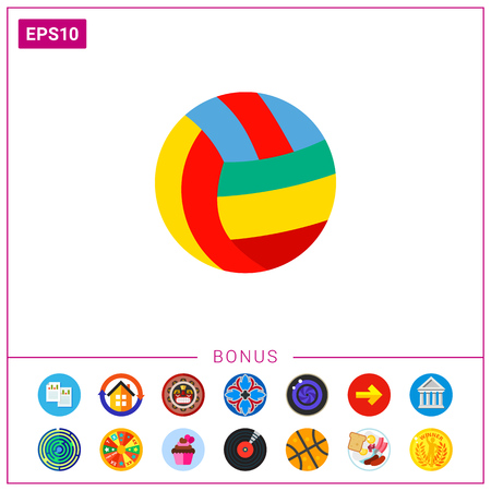 Colorful Volleyball Ball Icon Ilustrace