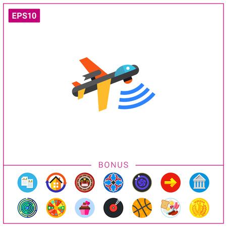 Combat Aerial Military Drone Icon Illustration