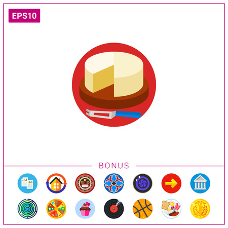Cut Camembert Cheese Wheel with Knife Icon Illustration