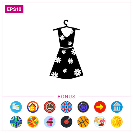 midsummer: Summer woman dress with floral print on hanger. Summer, beautiful, elegance. Dress concept. Can be used for topics like clothes, fashion, tourism. Illustration