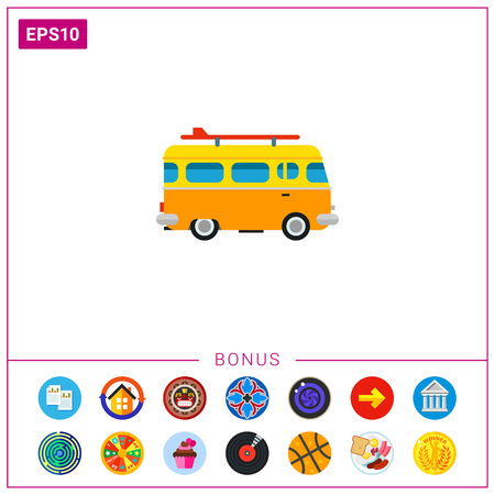 Orange bus with surf board. Sea, coast, leisure. Surf board bus concept. Can be used for topics like summer, vacation, surfing.