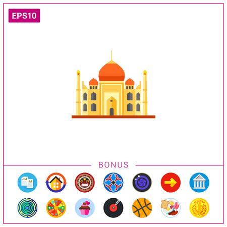 Multicolored vector icon of Indian Taj Mahal Mausoleum