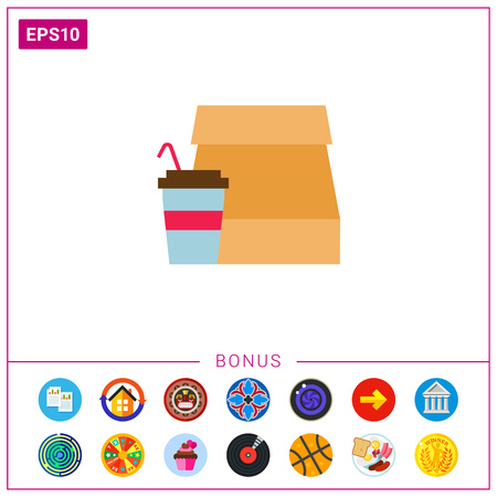 Icon of paper bag and disposable cup with straw Ilustrace