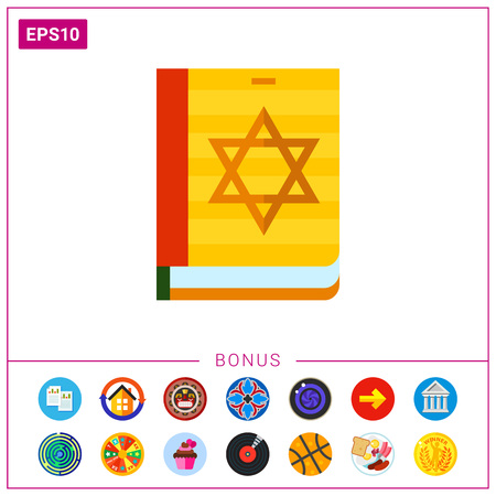 Multicolored vector icon of Torah book with star of David on cover