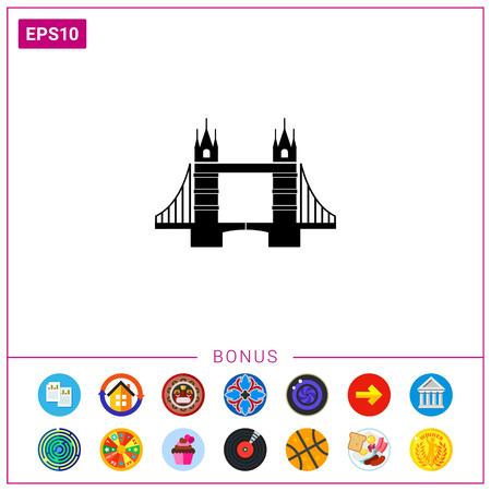London Tower Bridge silhouette monochrome vector icon