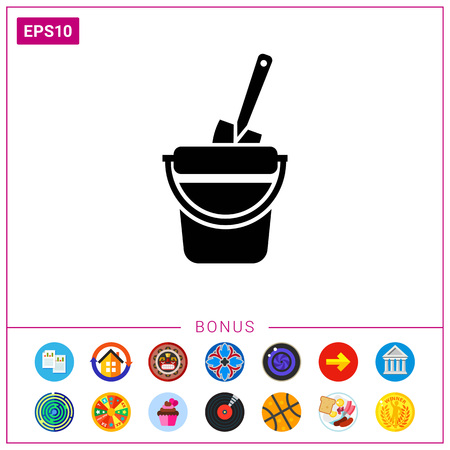 bucket and spade: Toy bucket with spade Illustration