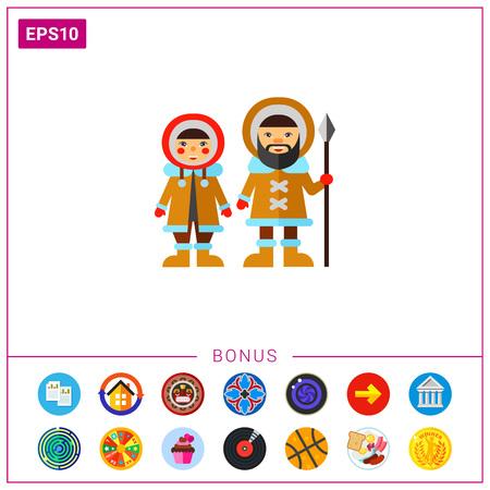 Two Eskimos Icon 版權商用圖片 - 77611479