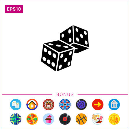 Two Dice Icon Stock Vector - 77611487