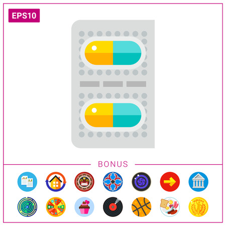 Multicolored vector icon of two capsule pills packed Illustration