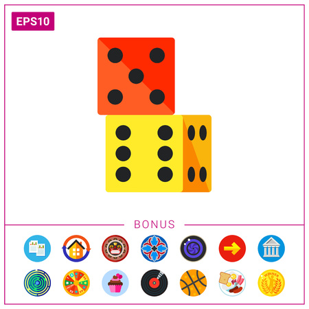 Two dice standing on top of one another. Game, number, random. Table game concept. Can be used for topics like gambling, marketing, table games. Illustration
