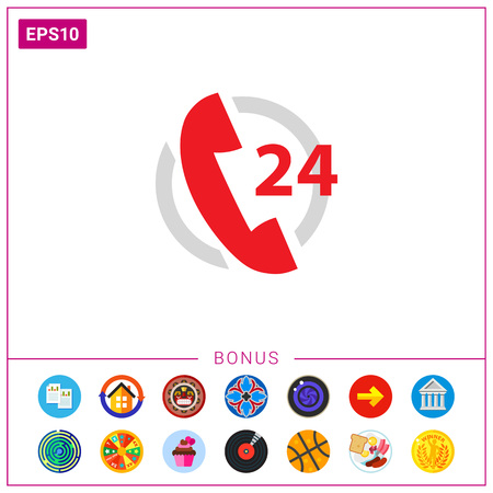 Icon of twenty-four hour support service with telephone receive in circle Vetores