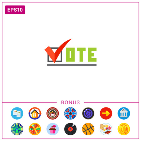 Vote Inscription with Tick Sign Icon Иллюстрация