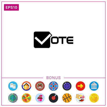 Vector icon of vote inscription with v like check mark in box Illustration