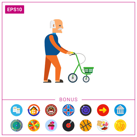 Walking old man with walkers. Disability, senility, aid. Care of the old concept. Can be used for topics like disability, equipment, medicine.