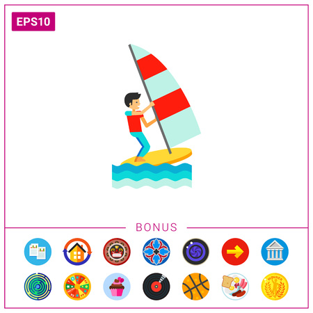 sailboard: Wind surfer sailing sailboard. Water, wind, extreme. Windsurfing concept. Can be used for topics like sport, health, leisure.