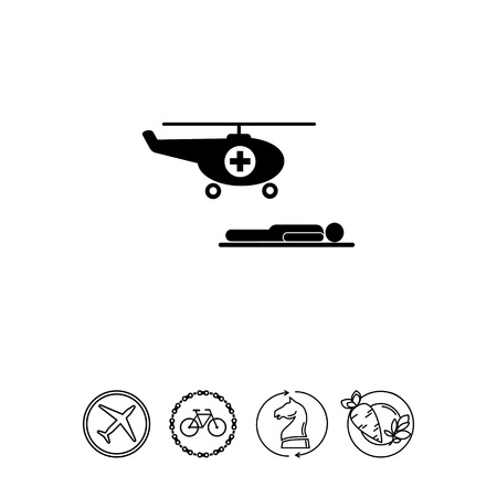 difficult lives: Air Ambulance and Patient Icon Illustration
