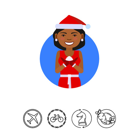 Female character, portrait of African American woman wearing red Santa costume, holding some snow