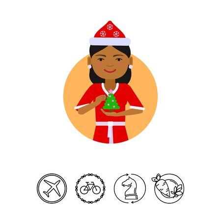 earrings: Female character, portrait of African American woman wearing Santa costume, holding Christmas tree