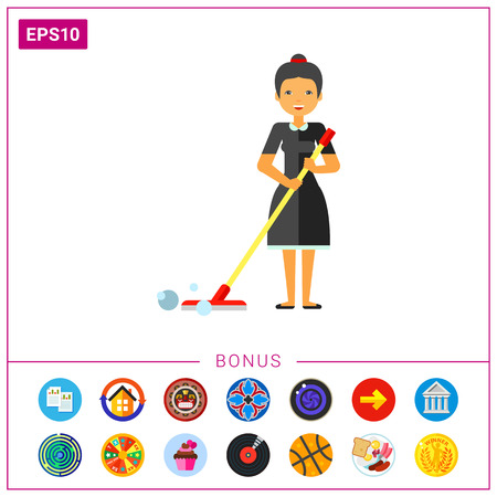 wet floor sign: Woman Cleaning Floor with Mop Icon