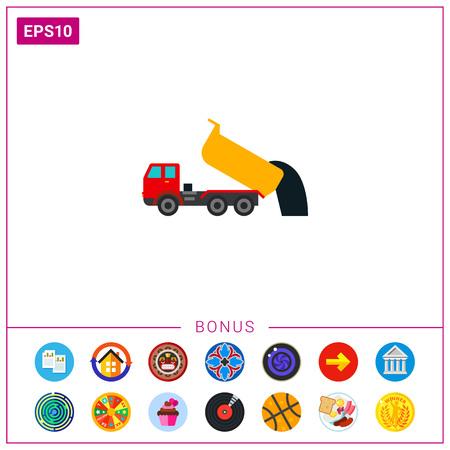 Unloading dump truck icon